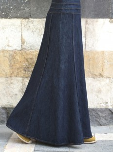 Shadha Denim Maxi Skirt