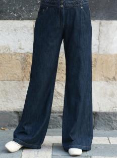 Braided Waist Wide Leg Jeans